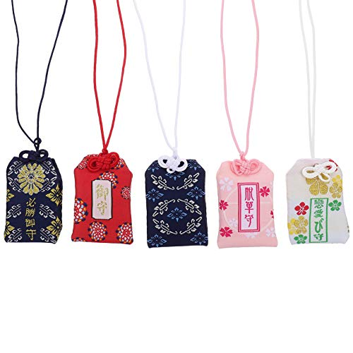 VICASKY Omamori - Amuleto japonés de la suerte, 5 unidades, amuleto Feng Shui Keychian para educación de la salud, amor, éxito, seguridad vial