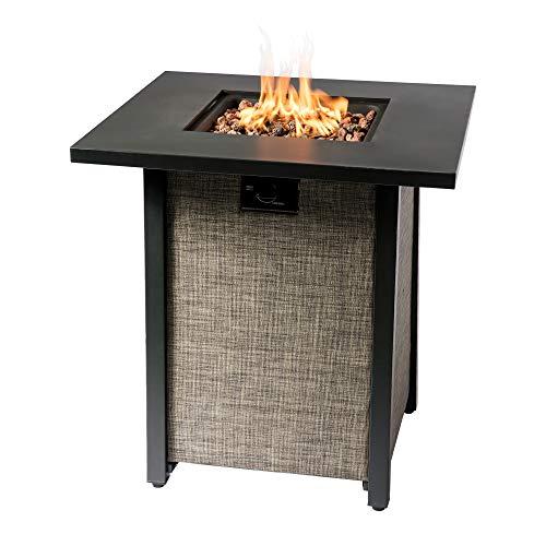 Peaktop Firepit Outdoor Gas Fire Pit Metal Fabric, Lava Rock, Cover HF28201AA-UK, Multi-Color