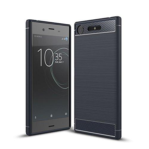 Cruzerlite Cover Sony Xperia XZ1 Custodia, Carbon Fiber Shock Absorption Slim TPU Cover Custodia for Sony Xperia XZ1 (2017) (Blue)