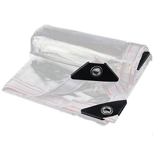 BLJS 99.9% PVC Transparent Tarpaulin, Tarps Cover Clear with Grommets, Windproof Waterproof Rain Cloth Shelter Clear Garden PVC Tarp Sails,2X2m/6.5x6.5ft