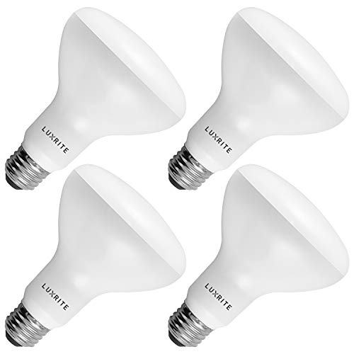 4-Pack BR30 LED Bulb, Luxrite, 65W Equivalent, 5000K Bright White, Dimmable, 650 Lumens, LED Flood Light Bulbs, 9W, E26 Medium Base, Damp Rated, Indoor/Outdoor - Living Room, Kitchen, and Recessed