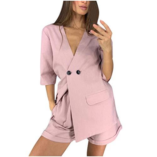 TUDUZ Shorts und Top Sets Freizeit Geschäftskleidung Damen V-Ausschnitt Kurzarm Mantel mit Tasten Kurz Hosen 2020 Mode Zweiteiliges (Pink, S)