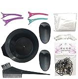 GCOA 11 Pcs Kit de Herramientas para Coloración de Pelo Herramienta de Teñir Cabello - Teñido Peine Cuenco de Mezcla Tapones de Oídos Gorro de Ducha Guantes Capa clips de peluquería y Elástico