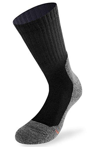 Lenz Unisex Trekking 5.0 Outdoor Strümpfe 2er Pack Herren Damen Wandern Running Socken Merino, 062, Farbe Schwarz, Größe 39 - 41