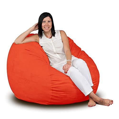 FUGU Bean Bag Chair, Premium Foam Filled 3 XL, Protective Liner Plus Removable Machine Wash Orange Cover