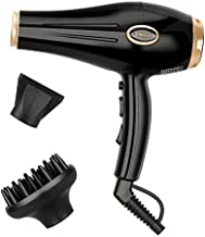 IG INGLAM Hair Dryer, 1875W Powerful Hair Dryer for Fast Drying and Healthy Shine, Professional Salon Blow Dryer with Diffuser and Concentrator, 2 Speed and 3 Heat Settings, Low Noise, Black