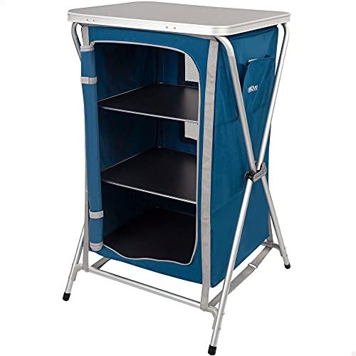 Aktive 52855 - Armario plegable cocina camping, jardín, mueble plegable cocina aluminio, mueble portátil ligero, 60x51.5x98 cm, color azul marino