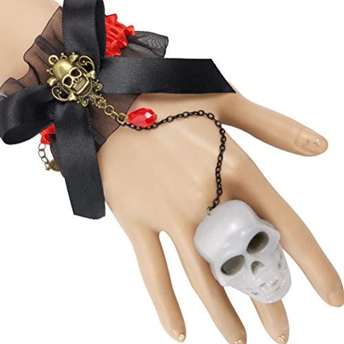 Amosfun Cadena brillante de calavera de Halloween para niñas señora LED encaje arco pulsera accesorios fiesta