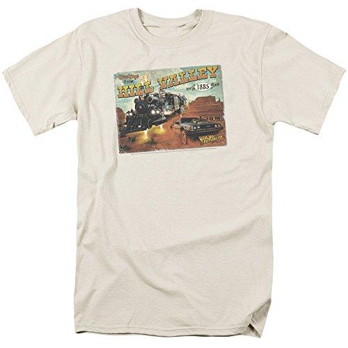 Regreso al Futuro III Hill Valley Postal Mens Camisa Manga Corta (Crema,...