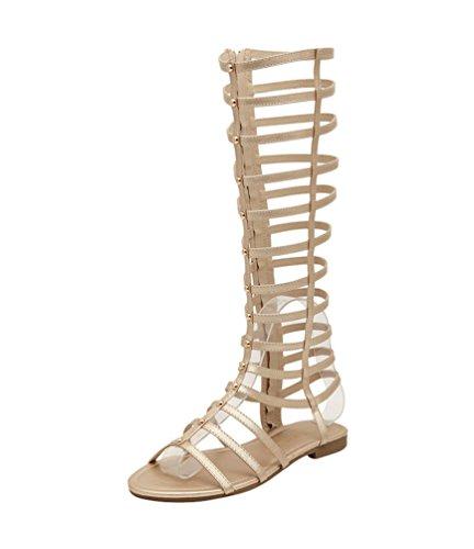 LvRao Damen Gladiator Römisch Sandalen Knie Stiefel Flache Sommer Strand Schuhe (Gold, EU 38)