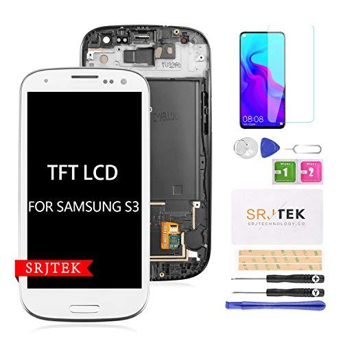 para S3 I9300 Reemplazo De Pantalla LCD Pantalla TFT LCD Pantalla Táctil Conjunto De Digitalizador para Samsung Galaxy S3 2012 I9300 I9305 I9305T Kit De Piezas ?+ Marco? (Blanco)