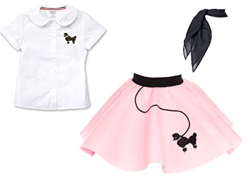 1950s Toddler 3 Piece Poodle Skirt Outfit with Scarf and Poodle Blouse, Halloween or Pretend Play Costume Set - Light Pink 2T