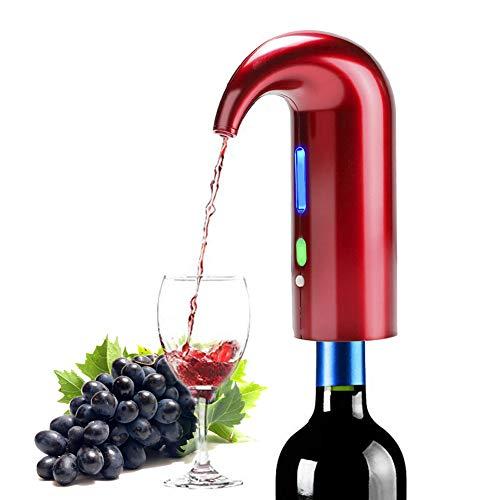 Yunjie Aireador de Vino Dispensador de Aireador Eléctrico Vino Tinto Dispensador Automático de Oxidante Sobrio Rápido, Recargable, para Vino Tinto y Blanco Adapta a la mayoría de Las Botellas,Rojo
