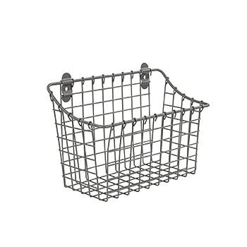 Spectrum Diversified Vintage Large Cabinet & Wall-Mounted Basket for Storage & Organization Rustic Farmhouse Decor Sturdy Steel Wire Storage Bin Industrial Gray