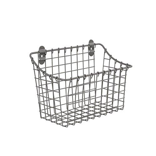 Spectrum Diversified Vintage Large Cabinet & Wall-Mounted Basket for Storage & Organization Rustic Farmhouse Decor, Sturdy Steel Wire Storage Bin, Industrial Gray