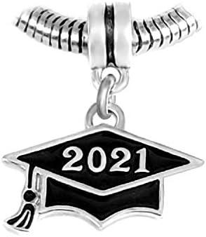 Dangle Black Class of 2021 Graduation Cap Charm Bead