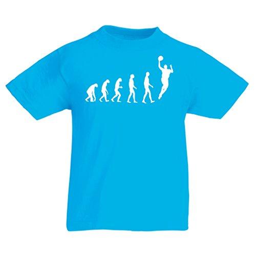 Camisas para niños evolución de Baloncesto - Canasta de la Calle, me Encanta Este Juego, Gran Fan de Regalo (7-8 Years Azul Claro Blanco)
