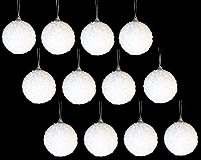 Pack of 12 Deluxe Decorated White 8cm Christmas Tree Baubles