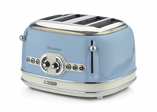 Ariete 0156/05 Retro Style 4 Toaster with 2 Slice Control, 6 Browning Levels & Removable Crumb Tray, Vintage Design, Stainless Steel, Blue