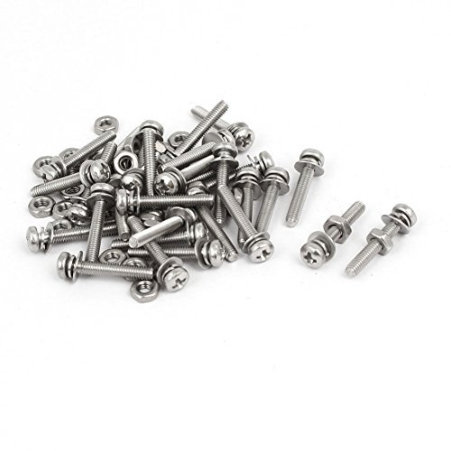 DealMux M2.5 x 16mm acero inoxidable 304 Phillips tornillos de cabeza w Tuercas Arandelas 30 sistemas