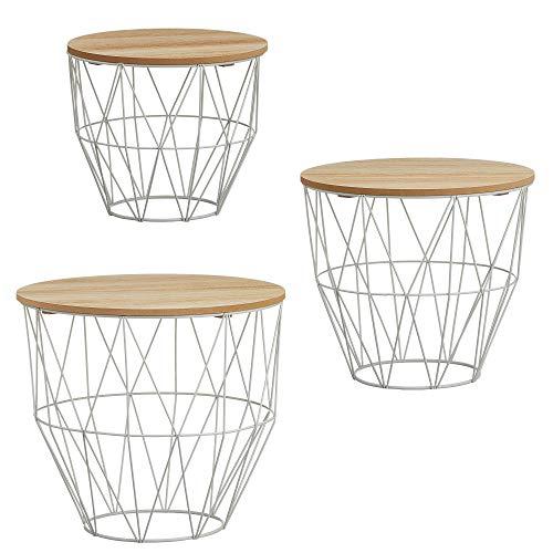 Beistelltisch 3er Set Couchtisch im Industrie Design aus Metall mit Holz Tischplatten (3er Set bauchiger Korb weiß)