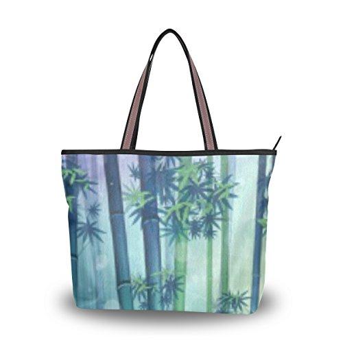 Ahomy Tote Schultertasche Bamboo Leaves1L Handtasche für Outdoor Gym Wandern Picknick Reise Strand, Mehrfarbig - multi - Größe: Large