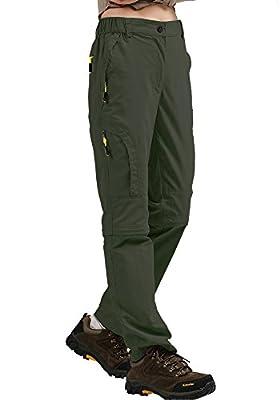 Women's Hiking Pants Quick Dry Convertible Stretch Lightweight Outdoor UPF 50 Fishing Safari Cargo Capri Zipper Pockets, 4409,Army Green,38