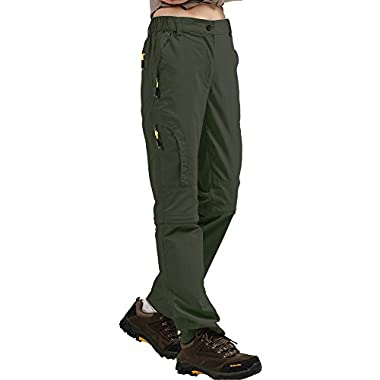 Women's Outdoor Quick Dry Convertible Lightweight Hiking Fishing Zip Off Stretch Cargo Pant #6601F-Army Green, S(29-30)