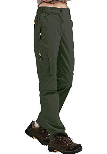 mosingle Pantaloni da trekking da donna, leggeri, ad asciugatura rapida, elasticizzati, UPF 50, Angel Safari Cargo, Capri con tasche con chiusura lampo, Donna, verde militare, 34