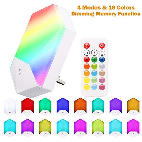 ALLOMN Luz de Noche LED, RGB Inteligente Control Remoto Luces Nocturnas Enchufe de Pared, 4 Modos y 16 Colores, Función de Atenuación y Memoria, con Control Remoto (1 PCS)