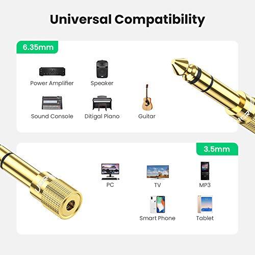 UGREEN Adaptador Jack 6.35 a 3.5, Hi-Fi Audio Estéreo Conector Chapado en Oro, Adaptador Clavija 6.5mm a 3.5 para Auriculares, Piano, Guitarra, Bajo Eléctrico,Teclado Digital, Amplificador, Altavoces