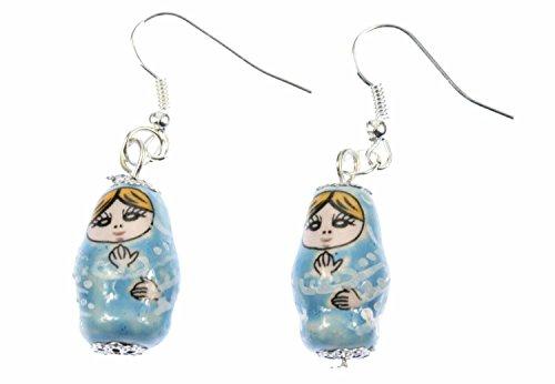 Miniblings Matroschka Ohrringe Hänger Babuschka russische Puppe Porzellan blau - Handmade Modeschmuck I Ohrhänger Ohrschmuck versilbert