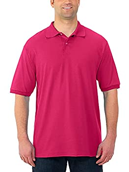 Jerzees Men s SpotShield Stain Resistant Polo Shirts  Short & Long Short Sleeve-Cyber Pink Large