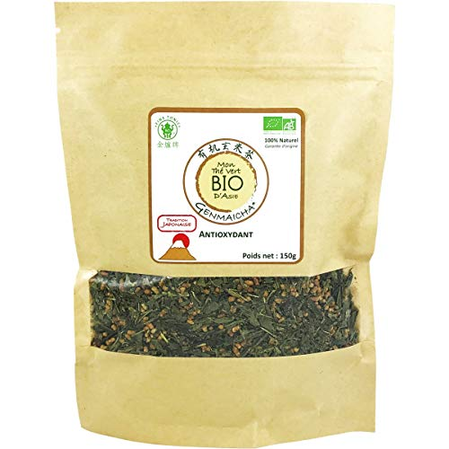 *** BIO *** Thé Vert Genmaicha Bio 150g - Thé Vert Sencha Bio au Riz Grillé - Tradition Japonaise - Sachet Kraft Refermable - Certifié AB par Ecocert France - GENMAICHA150G