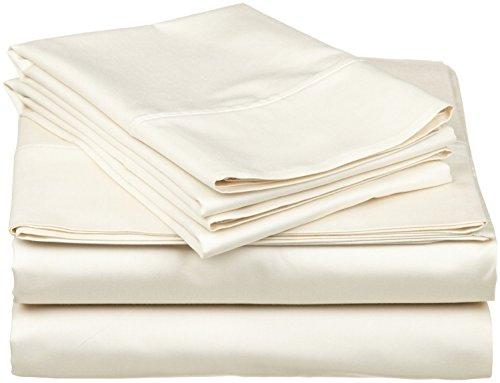 1000hilos 6piezas Juego de sábanas (marfil sólido, Reino Unido tamaño Super King 180x 200cm–(6ft x 6ft 6in), tamaño de bolsillo 42cm) 100% algodón egipcio Premium calidad
