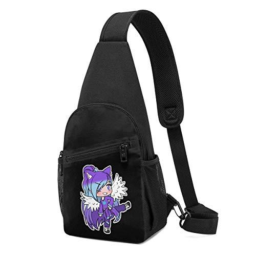 Gacha Life Purple Gacha Girl Chest Pack Sling Chest ABody Bag, zaino impermeabile antifurto per viaggio
