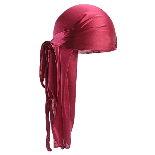 Fxhixiy Men Women Durag Extra Long-Tail Headwraps Silky Satin Pirate Cap Bandana Hat for 360 Waves (Wine)