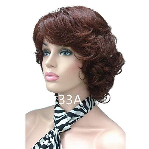 KYT-ma Perruques synthétique des Femmes bouclés Perruque Naturelle Moyen Noir/Blond postiche Perruque de Cheveux (Couleur : 33A, Taille : 12inches)