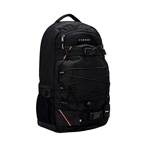 FORVERT Study Louis Unisex Backpack lässiger Daypack,Rucksack mit 15 Zoll Laptopfach,Boardcatcher,gepolsteter Rücken und Trageriemen,Black,one Size