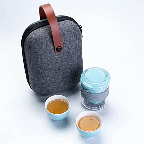 ZJDU Mini Juego de ollas de té de Viaje, Tetera de Kung fu China, 1 Olla 2 Tazas de Taza de té de Porcelana con Bolso portátil del infusor de té para Camping de Picnic al Aire Libre (Color: Azul)