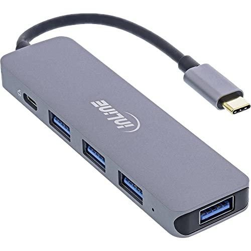 InLine USB 3.2 USB tipo C Multi Hub (4x USB-A 5Gb/s + USB tipo C (Data/PD 87W), OTG, carcasa de aluminio.