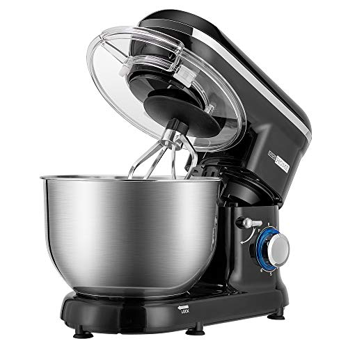 VIVOHOME Stand Mixer, 650W 6 Speed 6 Quart Tilt-Head Kitchen Electric Food Mixer with Beater, Dough Hook and Wire Whip, Black