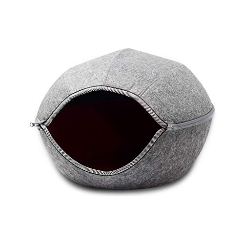 VistosoHome Felt Cat Cave Bed with Detachable & Collapsible Zipper Top -...
