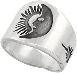 Sterling Silver Sun & Moon Ring for Men with Sunburst Design Sides 17mm wide, sizes 8 - 13