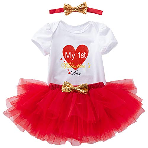 Baby Girl First Valentines Day Outfit – Red Romper Skirt Set with...