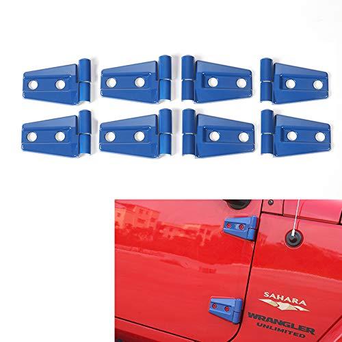 RT-TCZ Blue Door Hinge Cover Jeep Wrangler Accessories for 2007-2018 Jeep JK Wrangler Unlimited 4 Door (8PCS)