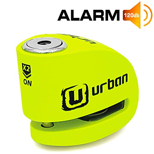 Urban Security UR906X Candado Antirrobo Moto Disco Alarma 120 dB, Eje 6 mm Universal, Amarillo Flúor