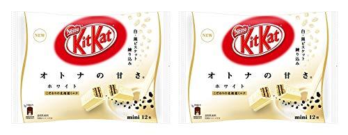【まとめ買い】ネスレ日本 キットカットミニ オトナの甘さ ホワイト 12枚×2袋 ほろにが黒ビスケットと白ビスケット 北海道ミルク 軽い食感と深い味わい