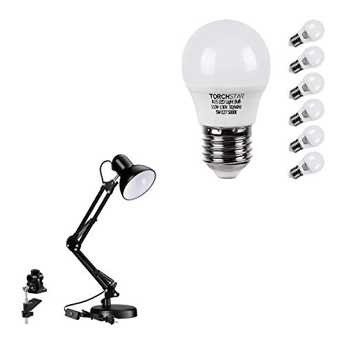 TORCHSTAR Metal Swing Arm Desk Lamp Bundle A15 LED Light Bulb, 1-Pack Black...