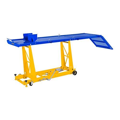 MSW Table Elévatrice Table de Levage Moto MSW-MHB-450-780.1 (capacité de Charge 450 kg, Hauteur 18 – 78 cm, Plate-Forme (L x l) 206 x 55 cm, 4 Roues, étau pour Roue Avant : 7-18 cm)
